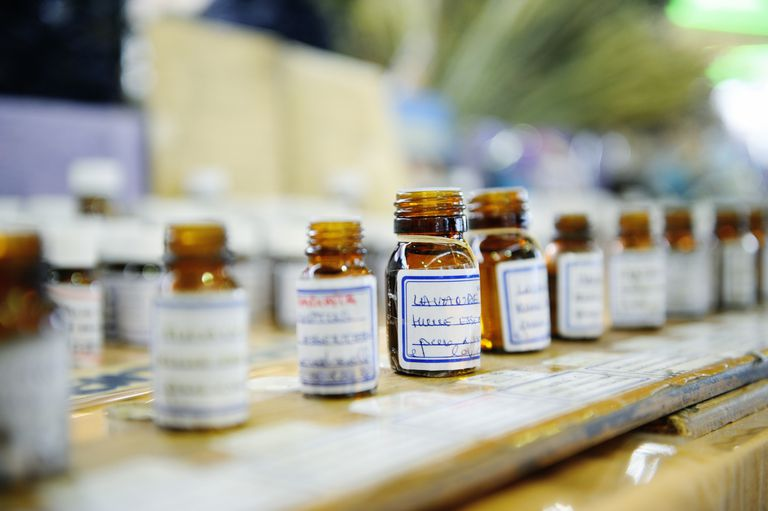 Essential oils on a market Stall like lavender may help to improve sleep and treat insomnia