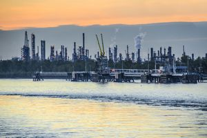 Oil refinery on Mississippi River near New Orleans, Louisiana