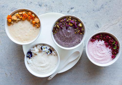 Yogurts in bowls