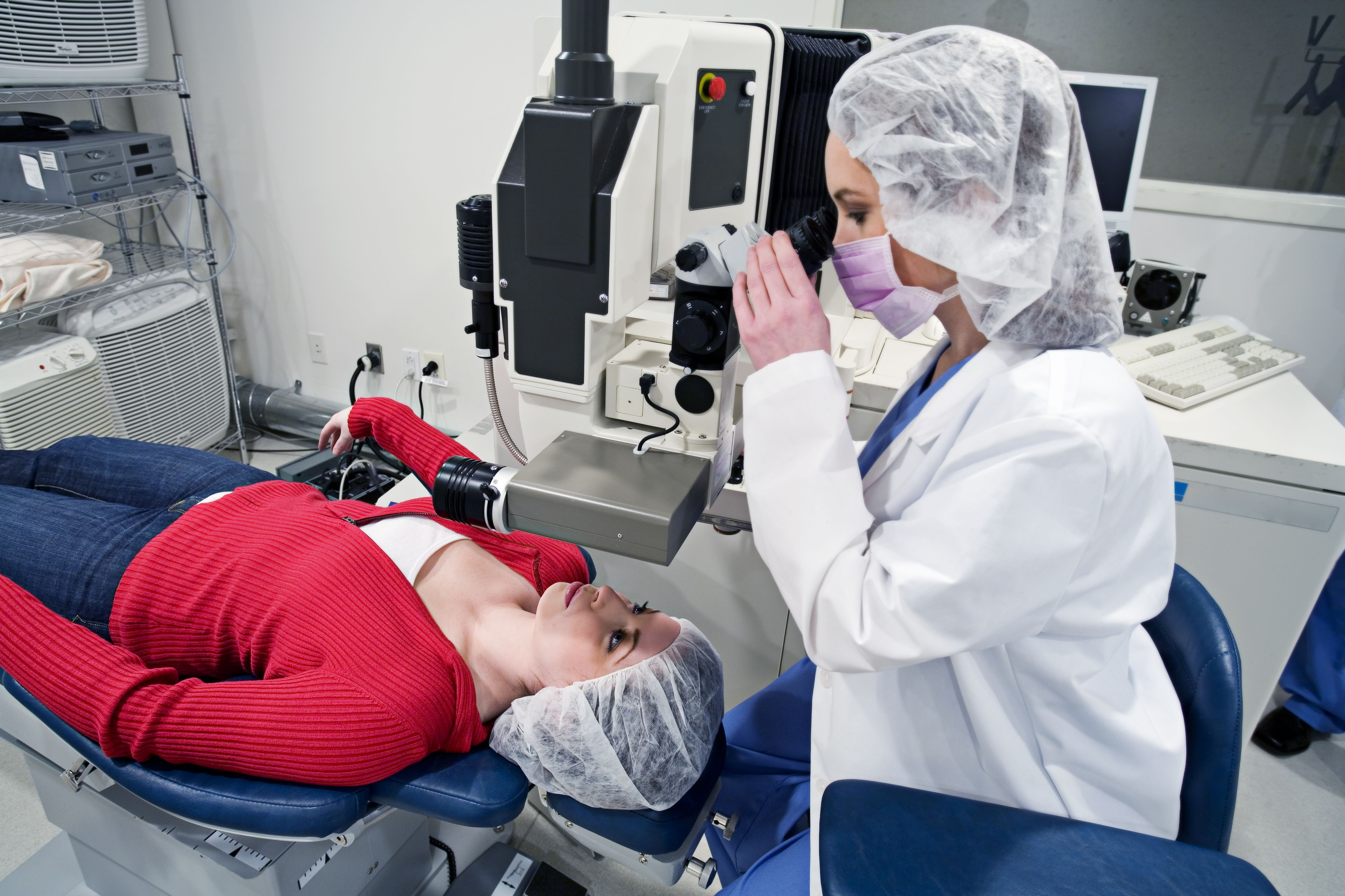 patient and doctor Preparing for LASIK eye surgery