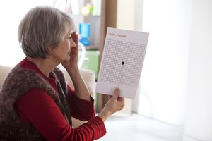 Person using an Amsler Grid to test for macular degeneration progression