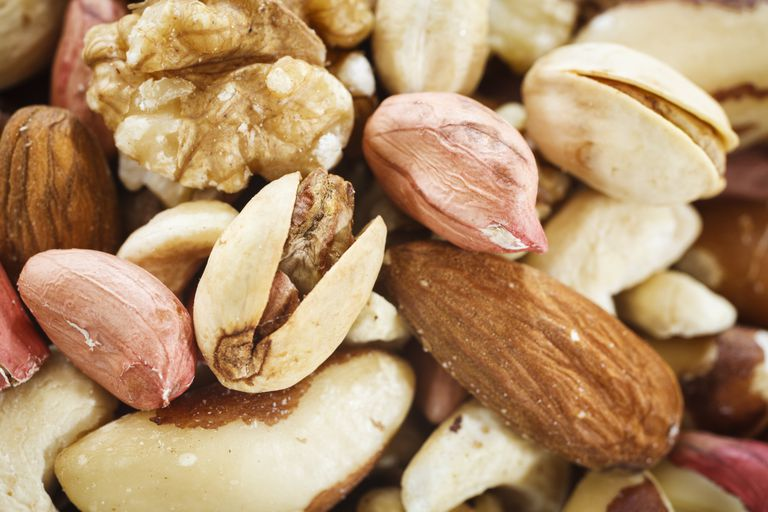 close up of mixed nuts including almonds, pistachios, walnuts, and more