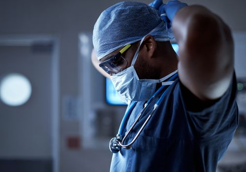 doctor preparing for a procedure.