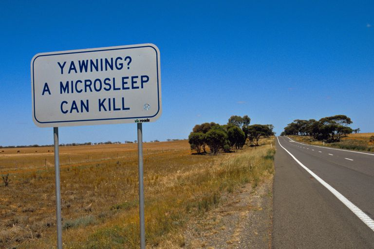 A road sign in Australia warning of microsleep.