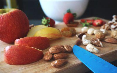A spread of food on a cutting board
