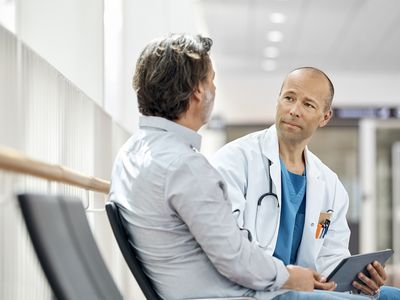 Man with male patient