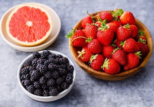 Bowl of grapefruit, blackberries, and strawberries