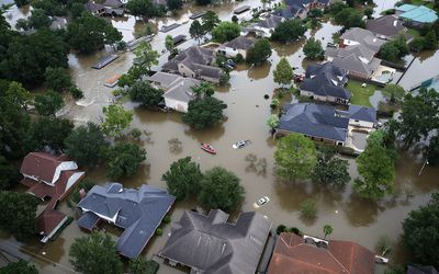 Flooded neighborhood in in Houston, Texas after Hurricane Harvey