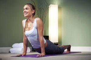 woman doing yoga at spa
