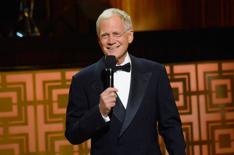 Letterman speaking at an event