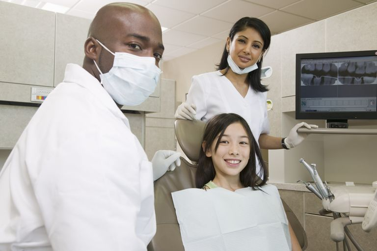 A dentist, assistant and patient