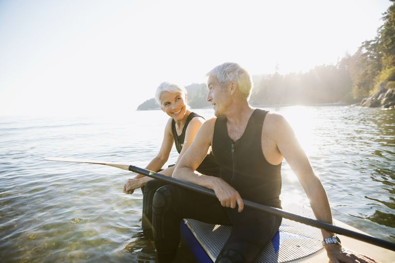 Older couple on paddle board