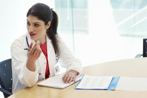 Female doctor talking during a meeting