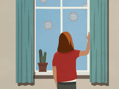 Someone staring out a window at floating COVID virus cells.