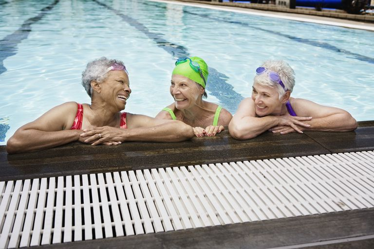 3 senior women in a pool