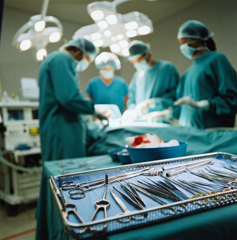 Tray of medical instruments in operating room