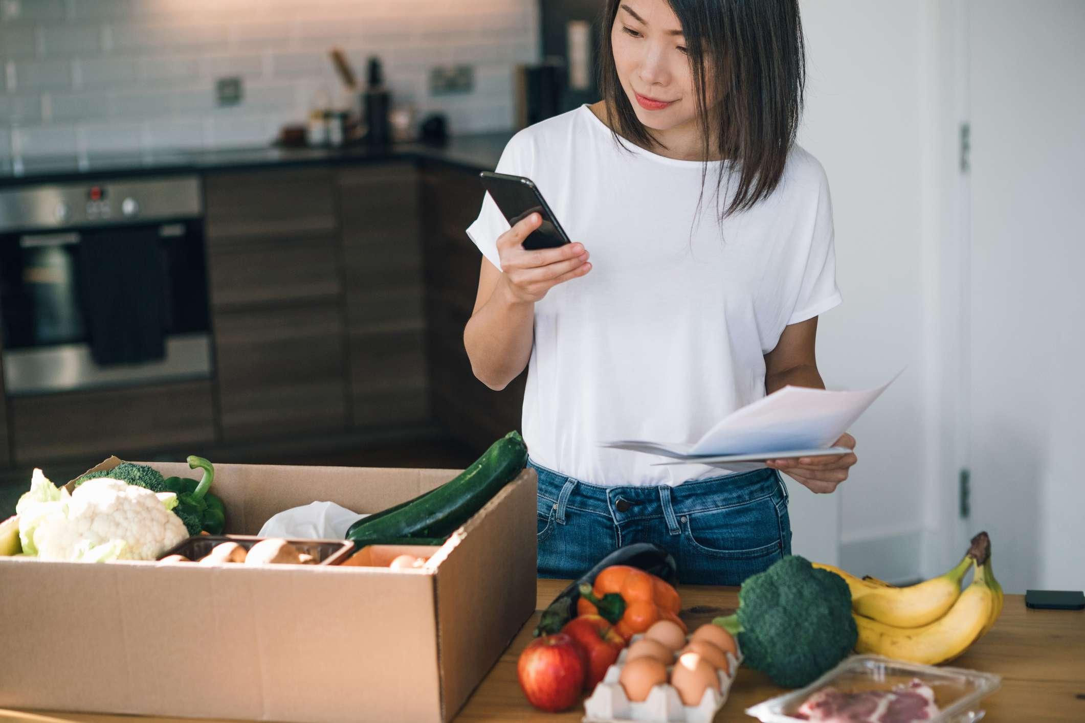 young woman checking food