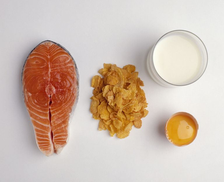 Salmon, corn flakes, milk. egg yolk