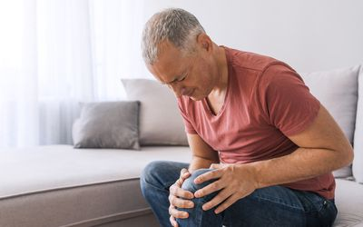 Man with knee joint pain