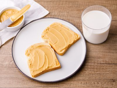 Peanut butter on toast with glass of milk