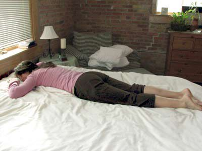 Stomach lying can help to eliminate morning back stiffness.