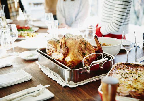 Roasted turkey on Thanksgiving table