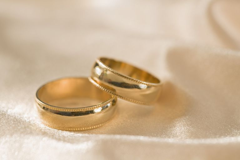 gold Wedding bands on silk