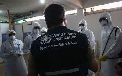 Man wearing World Health Organization vest