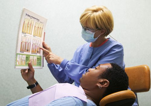 Dental hygienist showing a chart to a patient