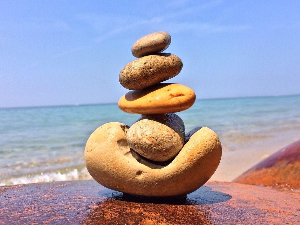 Rocks balanced on a beach