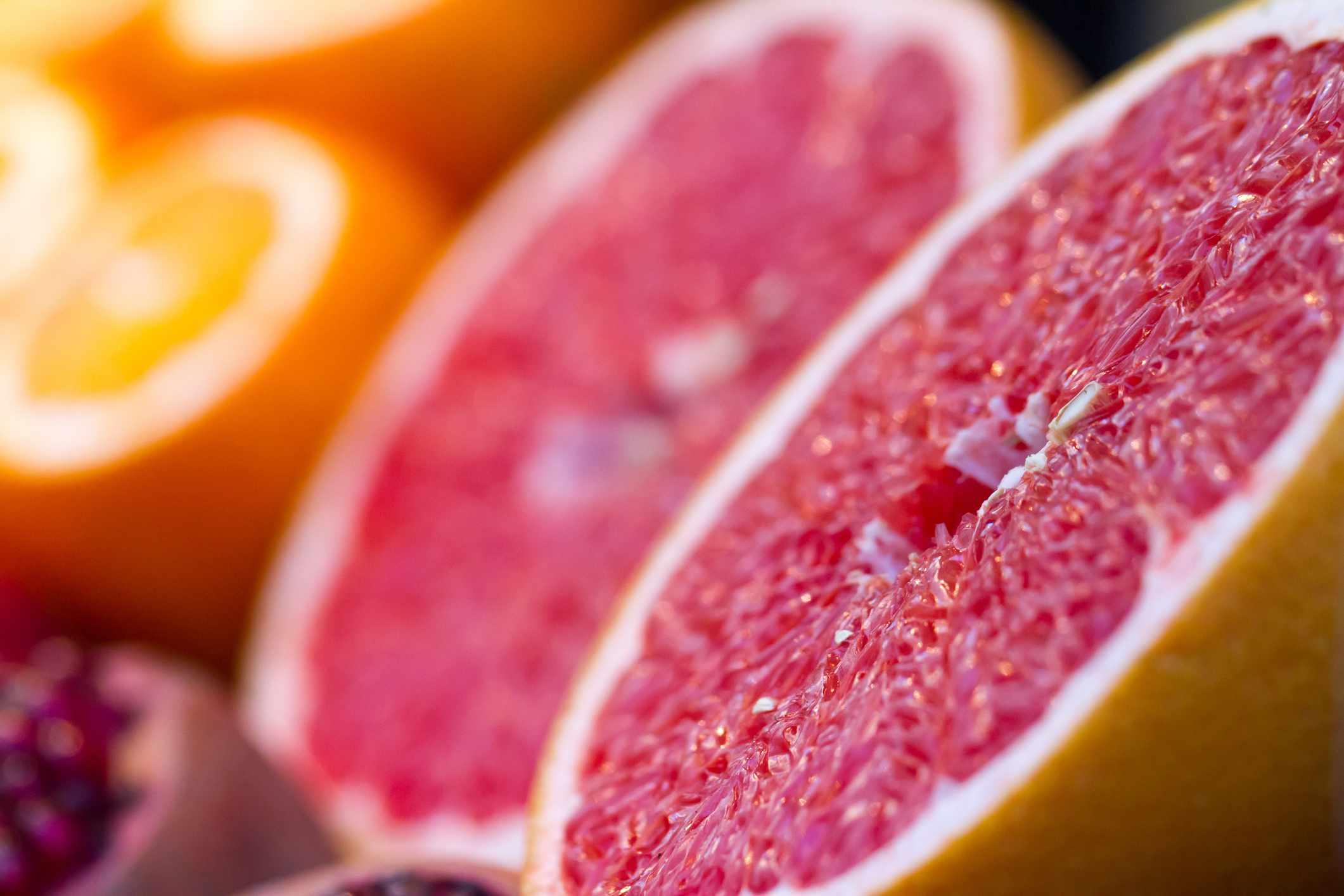 A grapefruit cut in half