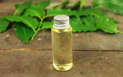Neem oil in bottle and neem leaf on wooden background