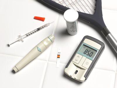 Diabetic blood sugar level testing kit and insulin