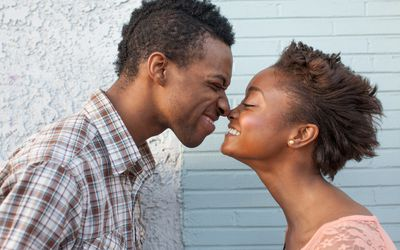 Young couple touching noses