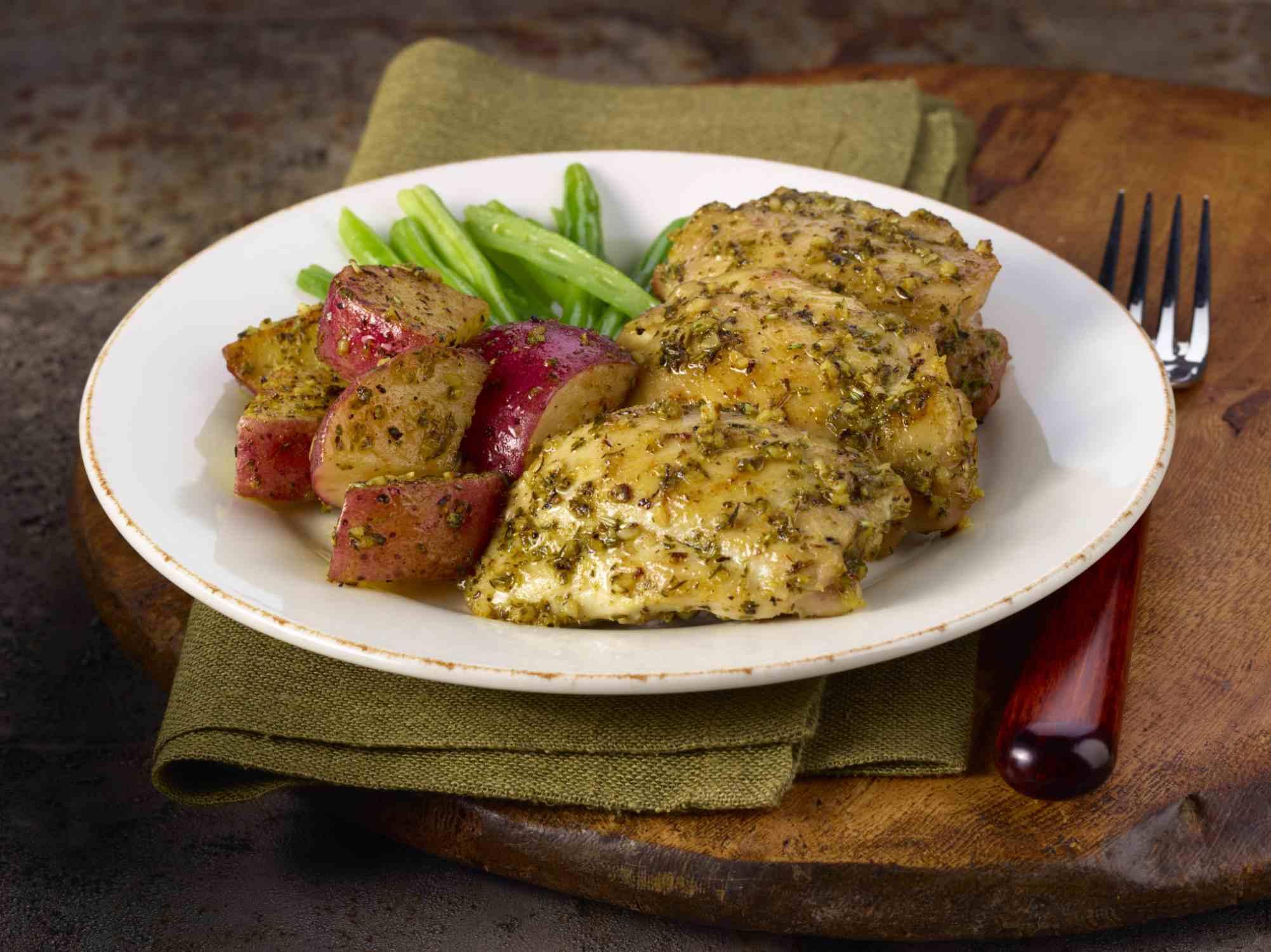Chicken dinner on a plate