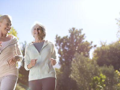 Senior women running outdoors