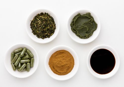 Nettle capsules, tincture, salve, dried herb, and powder