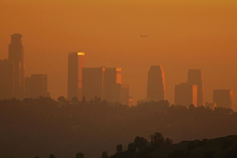 Sunset smog in Los Angeles.