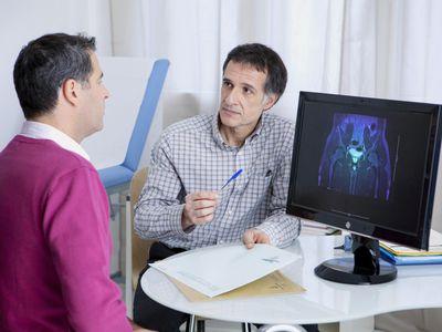 Urology consultation man - stock photo