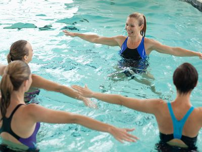 Women in a water exercise class