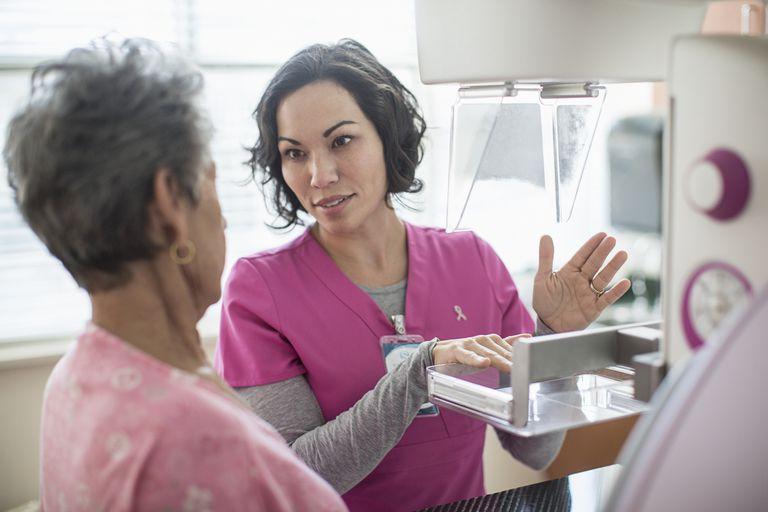 Nurse explaining mammogram to patient