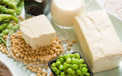 Soy Bean Food and Drink Products Photograph with Several Elements