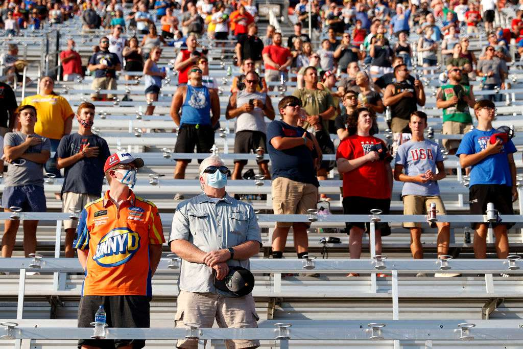 Crowds in the stands of the Bristol Motor Speedway on July 15