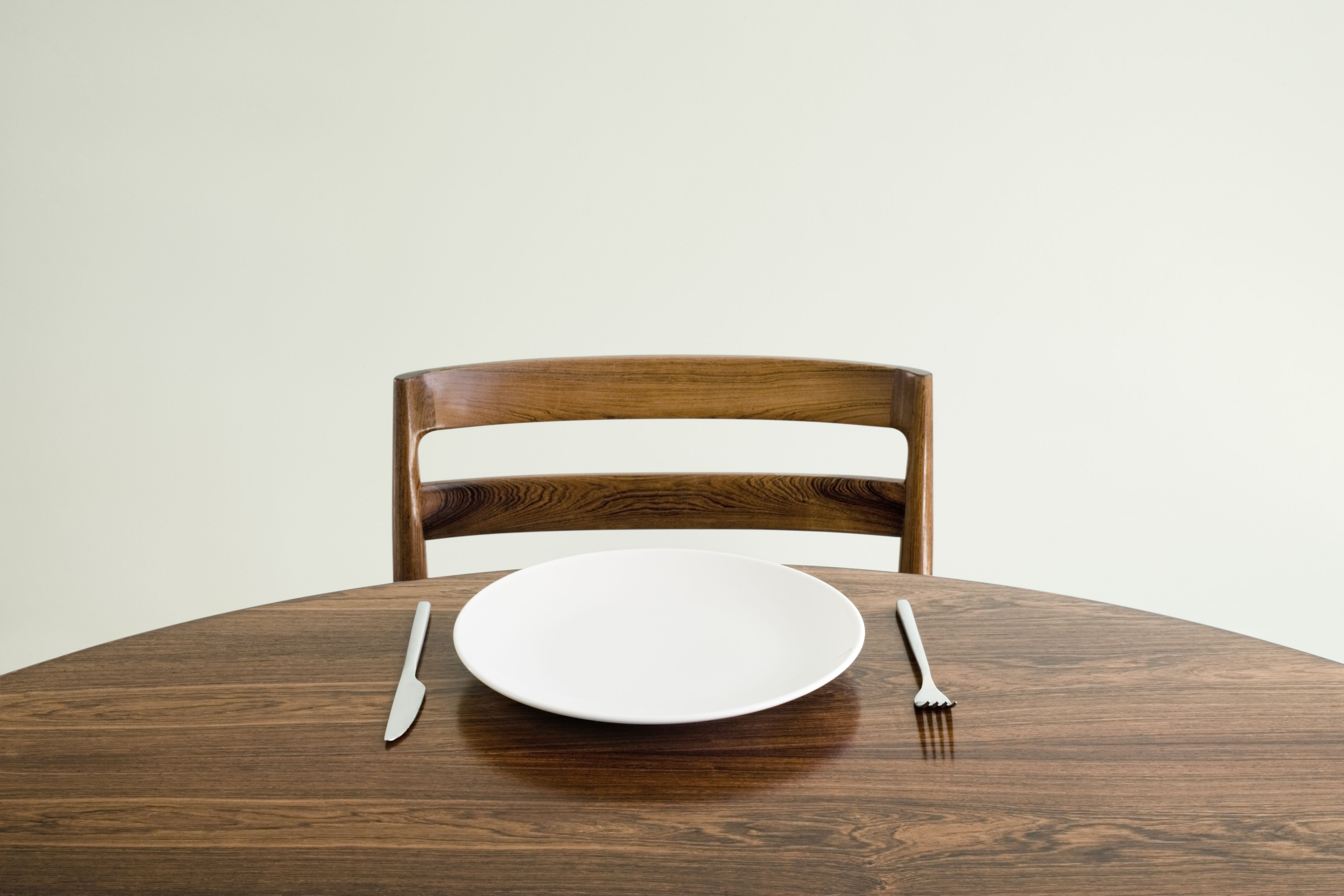 Empty plate and place setting