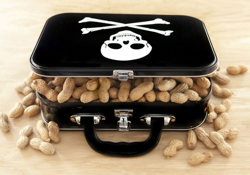 Shelled peanuts spilling out of a black metal lunchbox with a skull and cross bones on it