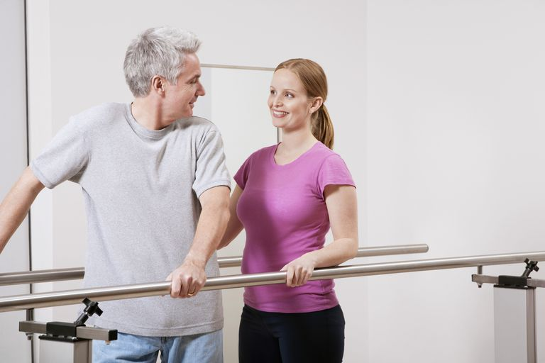 Your physical therapist will work with you in the hospital after your total hip replacement.