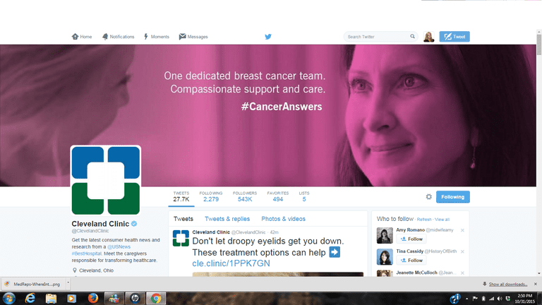 Screenshot of a Hospital Twitter Account