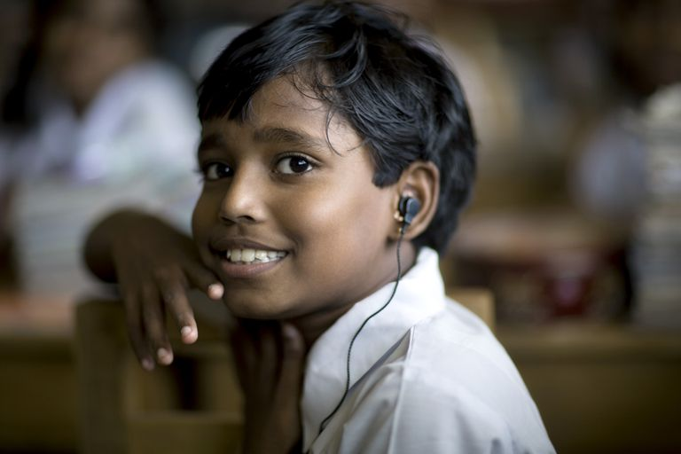 Boy with earpiece