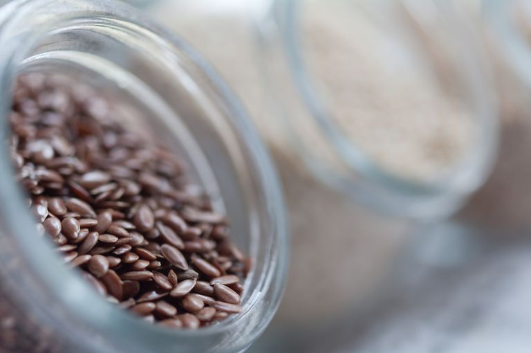 Flaxseeds in a glass jar