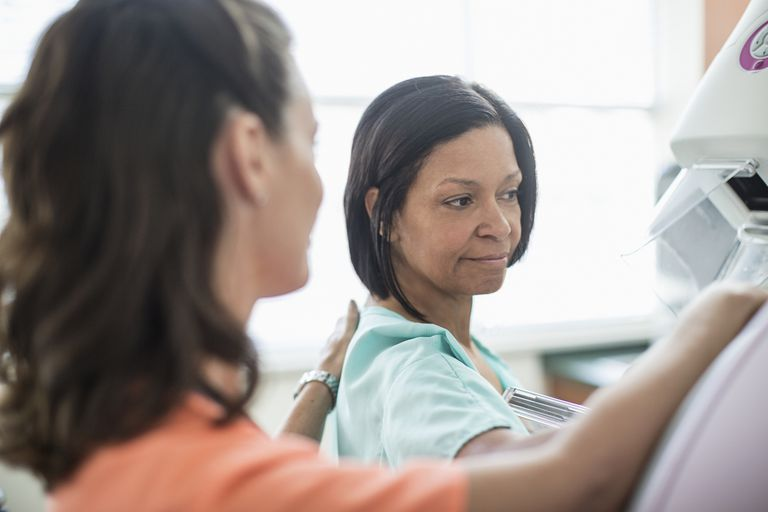 Nurse preparing patient for mammography